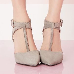 Sole Society Suede Pointed Mid-Heel T-Strap Pumps